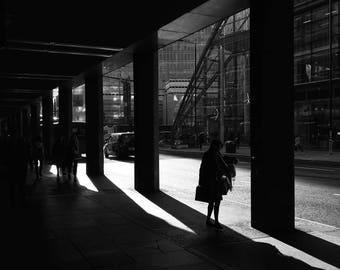 London Victoria, Woman Waiting, Silhouette Print, Silhouette Woman, Photography, Framed Photography, London, Art Prints, Street Photography
