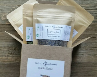 Organic Loose Leaf Tea Gift Set, Relaxing Herbal Tea Gift Box, Catnip, Lemon Balm, Passionflower, Lavender, Organic Dried Herbs Set