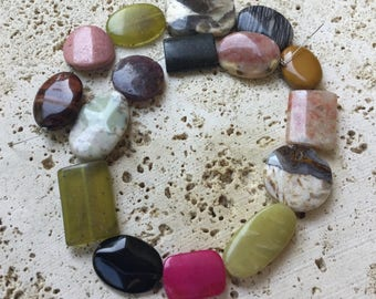 Mixed Stones assortment - Puff Oval, Round and Rectangle Combo