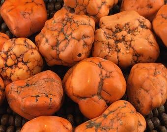 Bright Orange Stabilized Turquoise Free Form Nugget