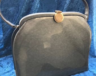 Vintage Grey/Silver Patent Leather Style Handbag with Gold Trim