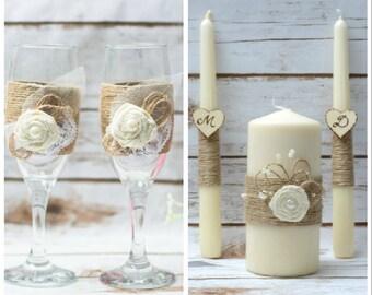 Rustikale Hochzeit Set Einheit Kerze Set Toasten Gläser Champagner Flöten  Elfenbein Kerze Set Rustikale Hochzeitsdekor