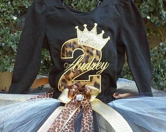 Leopard Black Gold Crown 2nd Birthday Outfit Bodysuit Tutu FREE Hair Bow Personalized