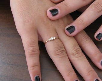 Solid gold ring 14k diamond, three round diamond, engagement ring, dainty diamond ring, anniversary ring, unique engagement ring