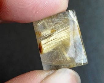 New year sale 18.40 cts Golden Rutile natural Gemstone ,cabochon , smooth, rectangle rectangle shape, 17x14x7mm size, AM79
