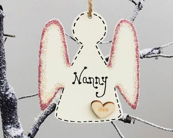 Personalised angel tag. Wall decor. Nanny. Tree decoration. Hanging decoration.