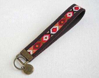 Navajo Keychain Wristlet Key Chain, Southwestern Key Fob, Aztec Fabric Keyholder, Brown Keyfob, Birthday gift, Coworker Gift, Housewarming