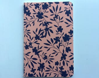 Navy and peach floral notebook