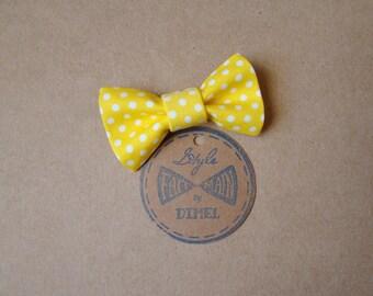 girl woman yellow dot bow hair clip