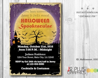 INSTANT DOWNLOAD Halloween Party Invitations, Halloween Invite, Halloween Invitation Instant Download, Invites Printable, DIY Editable pdf