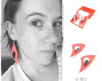 Pink and black earrings 3D