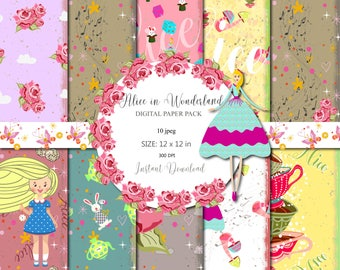 Alice in Wonderland paper pack, Alice Digital Paper Pack,Scrapbook,Party Background,Fairytale,Baby Shower Seamless,Birthday party,Invitation