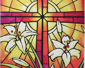 REJOICE!  This is an Easter fabric panel designed by Janet Stever for Northcott.