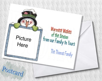 Snowman Holiday Card; Chrismukkah Card; Multiple Photo; Season's Greetings; Printed; Digital; PDF; Folded; Postcard; Shipped