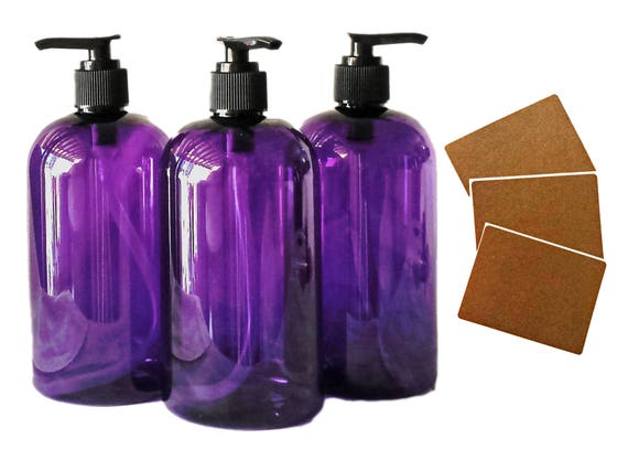 16 oz Plastic Bottles, Purple PET Round Bottles w/ Black Lotion Pumps available in 1, 3, 6 & 12 + Kraft Labels