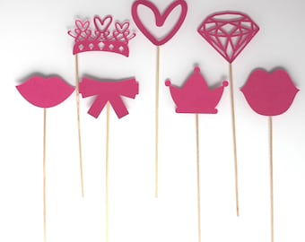Lot de 7 accessoires Photobooth anniversaire princesse - Fuchsia -petit modèle