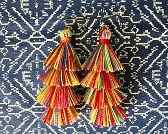 Confetti Tassel earrings, Rainbow earrings, Colorful earrings, Rainbow fringe drops, stacked tassel earrings