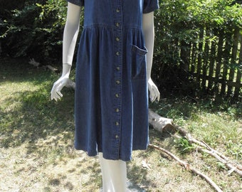 Vintage Denim Midi All Button Short Sleeves Cotton Dress
