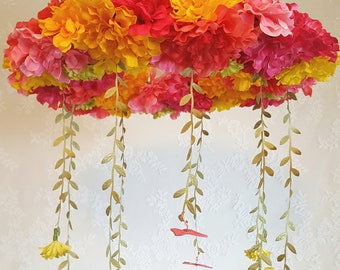 Bright pinks and yellows wreath mobile