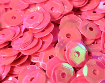 3/4/6mm Neon Dark Pink Bridal Cup Iridescent Shiny Sequins Sheen Round Sequins/Loose Paillettes,Wholesale Sequins,Shimmering Sequin Apparel