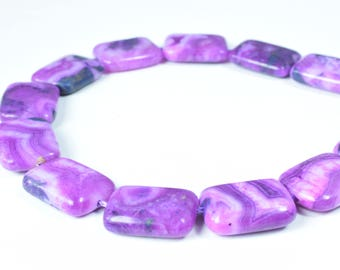 Charoite Agate Square Beads, 1 strand of 23pcs, 14x20mm,1mm hole opening, Wholesale rectangle beads, Charoite Beads, Gemstone Beads,