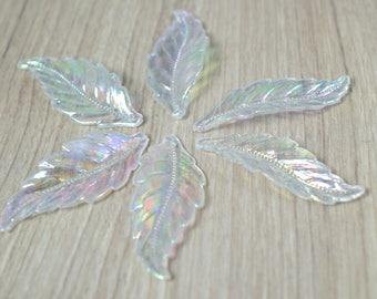 18x45mm Clear Iris Leaf Charm Resin Plastic Beads, Charm Beading Tools/Acrylic Leaf Beads/Boho Charms/Beads/Clear Acrylic Leaf Pendants