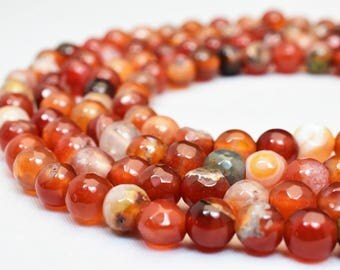 Natural Agate Gemstone Beads Faceted Round Beads 6mm Natural Stones Beads Healing chakra stones Jewelry Making Item# 789222065256