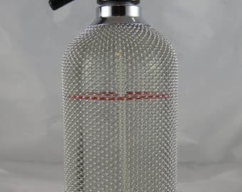 Vintage ACE Czech Syphon Seltzer Bottle Wire Mesh Red Line Marked Barware