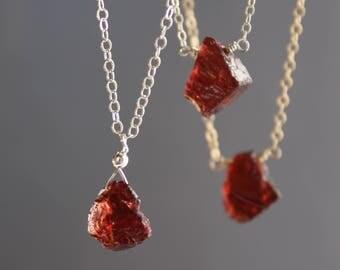 Raw Garnet Necklace, Petite Garnet Rough Necklace, Garnet Necklace, January Birthstone, Dainty Gemstone necklace, Red Garnet