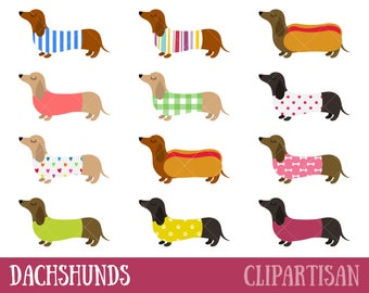 Dachshunds Clipart | Sausage Dogs Clip Art | Weiner Dogs Printables