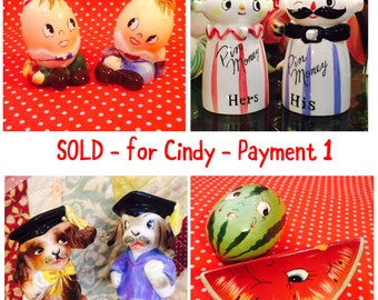 SOLD - for Cindy - Layaway Payment 1 - Relco Pin Banks and 3 sets PY S&P Shakers made in Japan circa 1950sa
