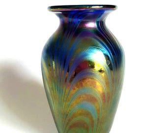 "Delicate Mt St. Helen's Ash Iridescent Contemporary Art Glass Vase, marked ""Vines 86 MSH Ash"" American art, Collectibles, VetterleinArt"