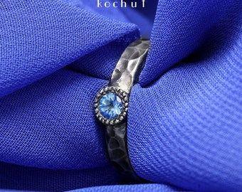 "Silver topaz ring, blue topaz ring, sterling topaz ring. Silver topaz rings ""Vitamin"" from Kochut collection."