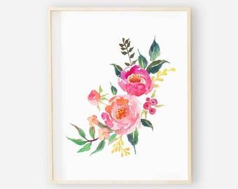 Bright Floral Nursery Digital Print | Nursery Wall Art | Floral Wall Art | Floral Baby Girl Nursery Decor | Watercolor Floral Art 3