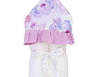 Purple Petal Party | Full Size Toddler Hooded Towel | Purple and Floral | Baby Shower Gift | Girl Shower Gift