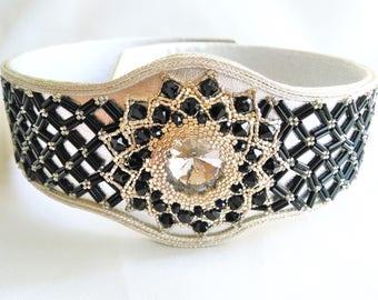 handmade beads black and silver plated belt - Original belt - women belt - strass belt - black belt - women gift - women accessories