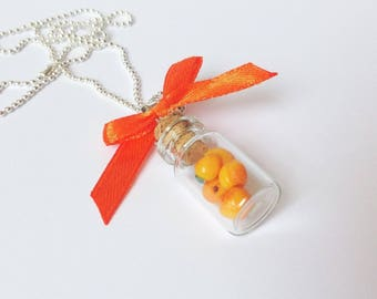 Apricots, miniature bottle pendant fimo, gourmet gem vial necklace