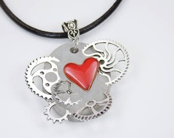 Necklace Heart gears steampunk with red heart from enamel concrete jewelry on black leather strap red gear Valentine's Day concrete Jewelry