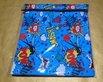 Waterproof Lined Zip Pouch - Sandwich bag - Eco - Snack Bag - Bikini Bag - Lunch Bag - Zero Waste Pow Super Hero Super Heroes Medium Poppins