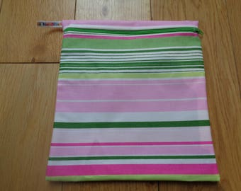 Sandwich bag - Eco - Snack - Bikini Bag - Lunch Bag - Make Up - Beauty Bag - Large Poppins Waterproof Lined Zip Pouch -  Pink Green Stripe