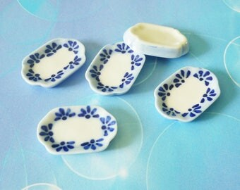 Miniature plate flower long plate set 5 pcs. Mini sandwich plate/ one inch / white ceramic plate /Miniature kitchen/ Dollhouse miniatures