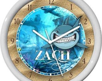 Under the Sea Fun Shark Personalized Children/Nursery Wall Clock