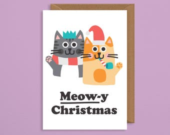 meowy christmas.cat christmas cards.cat christmas.christmas cards handmade.cat lover gift.funny xmas cards.cats.cat card.girlfriend.for her
