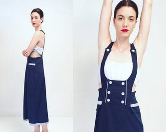 WEEKEND40%OFF Vtg 90s Navy Blue Overall Dress