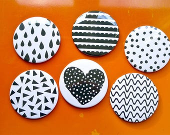 Set of 6 large Magnets 88 mms 'Graphic patterns'