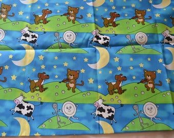 "2 YARD BY 58""  Hey Diddle diddle the cat and the fiddle  fabric"