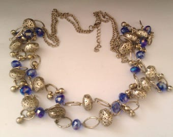 silver coloured filigree purple crystal bead necklace
