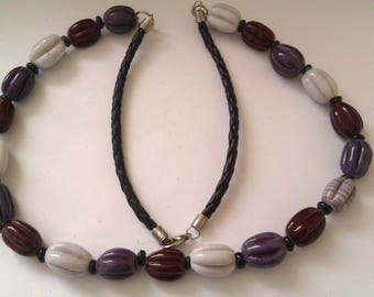 glass bead and leather necklace
