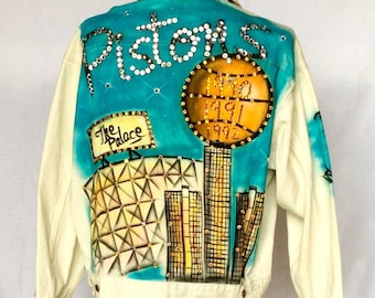 Vintage 1990s Hand Painted and Trimmed Levi's Jean Jacket