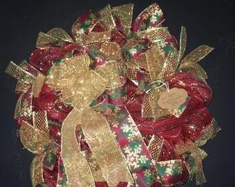Christmas wreath gold & burgundy plaid